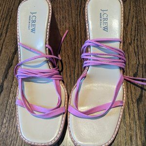 Jcrew Espadrilles with Pink Leather Straps